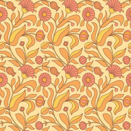 calendula: Autumn floral seamless with pattern calendula flowers
