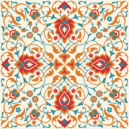 ornate background: Floral tile design in Eastern style. Traditional ornate background. Arabic, Turkish, Ottoman, Persian ornamental decor