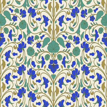nasturtium: Floral pattern in Eastern style with nasturtium flowers Illustration