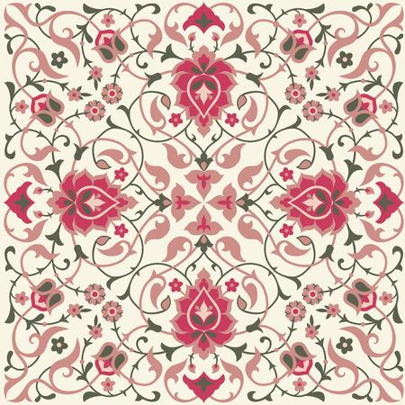 Traditional ethnic floral tile design in Eastern style. Illustration