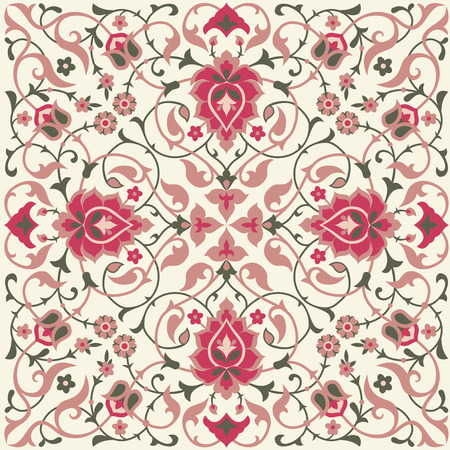 Traditional ethnic floral tile design in Eastern style. Vectores