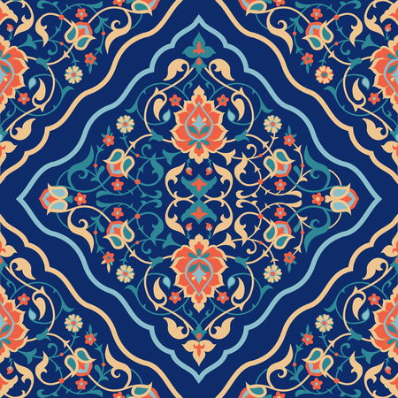 Arabic tile design. Traditional Islamic ornamental seamless pattern. Ethnic floral background