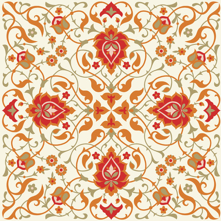 red gold: Floral ornamental pattern in eastern style Illustration