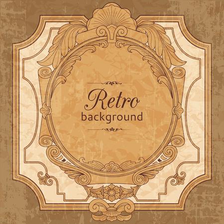 vintage retro frame: Retro baroque background. Vintage ornamental frame Illustration