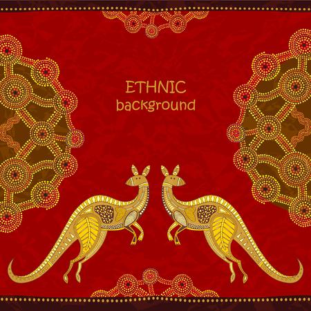 Fondo tribal del canguro. Estilo de arte aborigen, ilustración vectorial. Elementos de pintura de puntos. Para las tarjetas, el diseño del aviador, los carteles, el fondo.