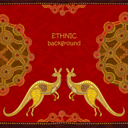 aborigen: Kangaroo tribal background. Aboriginal art style, vector illustration. Dot painting elements. For cards, flyer design, posters, background. Vectores