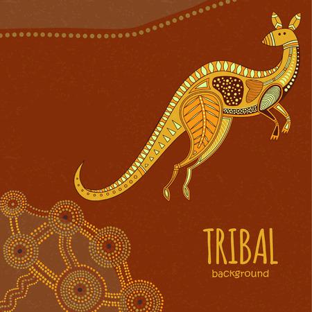 aboriginal art: Kangaroo background in Aboriginal art style
