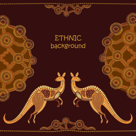traditional pattern: Abstract background with kangaroo, vector illustration. Australian Aboriginal style, dot painting elements. Illustration