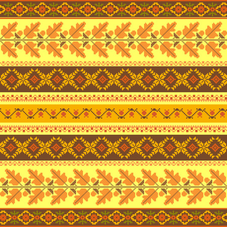 embroidered: Autumnal striped embroidered background, vector seamless pattern