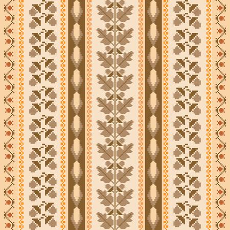 punto de cruz: Otoñal antecedentes rayas tradicional bordado de punto de cruz. Vector sin patrón