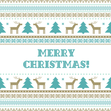 Retro traditionak Christmas background in Scandinavian style, vector template for card, poster, invitation design Illustration