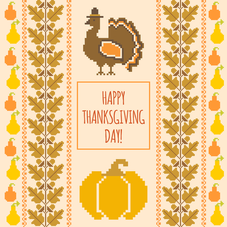 traditional illustration: Thanksgiving day caard template, autumnal traditional embroudered background, vector illustration