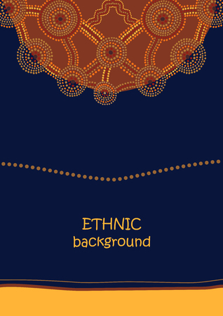 Ethnic abstract ornament in Australian aboriginal dot painting style