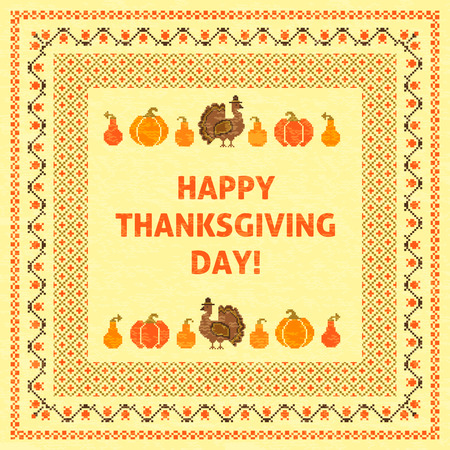 embroidered: Thanksgiving day retro embroidered card template Illustration