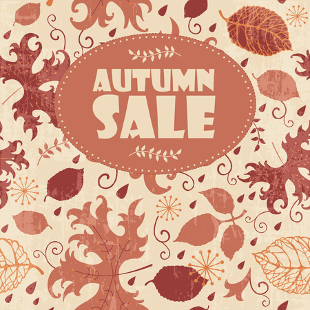 fall leaves background: Autumn sale background with colorful fall leaves