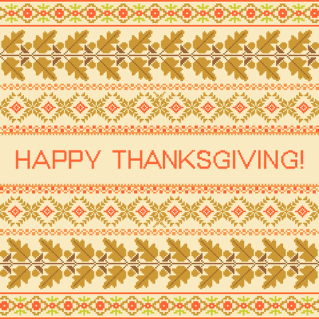 embroidered: Happy Thanksgiving striped embroidered background