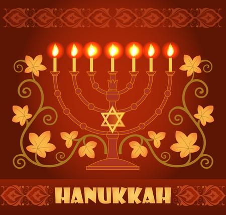menora: Hanukkah greeting card, red and gold background with menorah and star of David Illustration