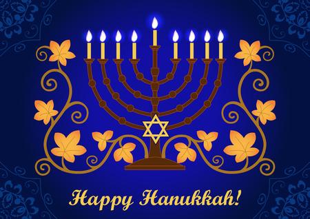 Happy Hanukkah greeting card, blue background with menorah and star of David