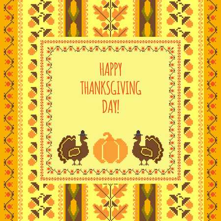 embroidered: Happy Thanksgiving day cross-stich embroidered background