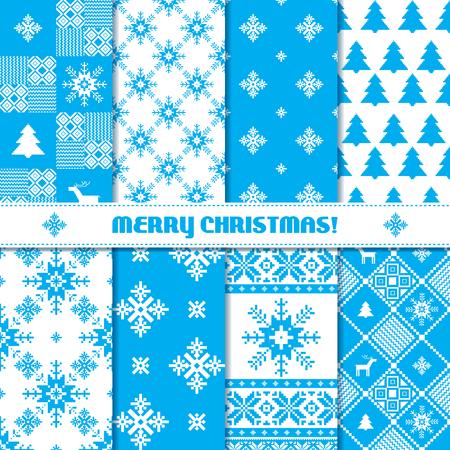 青と白のニットのクリスマス シームレス パターンのセット