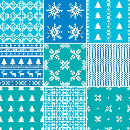 scandinavian: Traditional scandinavian Christmas patterns set Illustration