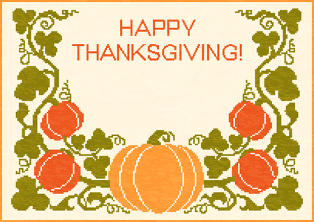 embroidered: Happy Thanksgiving embroidered background with pumpkins