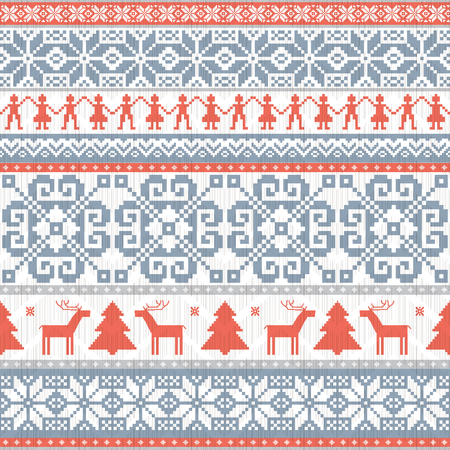 Traditional knitted ornamental seamless pattern. Winter seamless ornamental nackground in scandinavian style. Christmas and New Year design