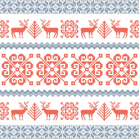 traditional pattern: Traditional knitted Christmas pattern with reindeers, tree and traditional nordic ornament