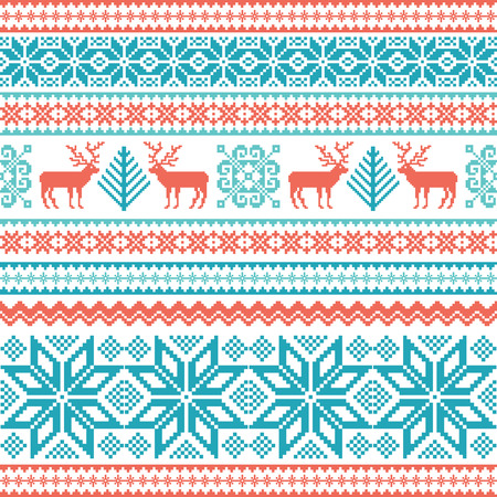 Traditional striped knitted winter seamless pattern. Christmas background with deer, snowflake and tree Çizim