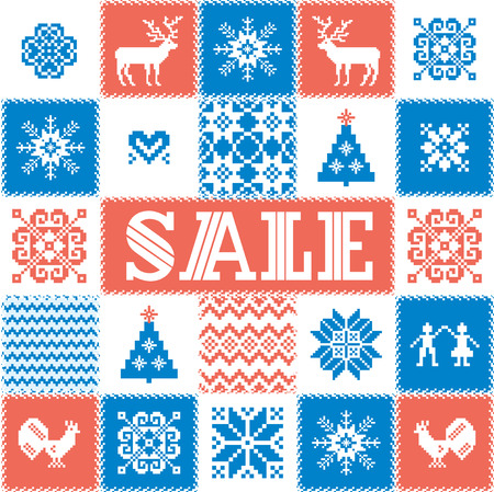 christmas motif: Winter sale background; patchwork style pattern. Traditional Christmas and New Year motif: deer; tree; snowflake; star