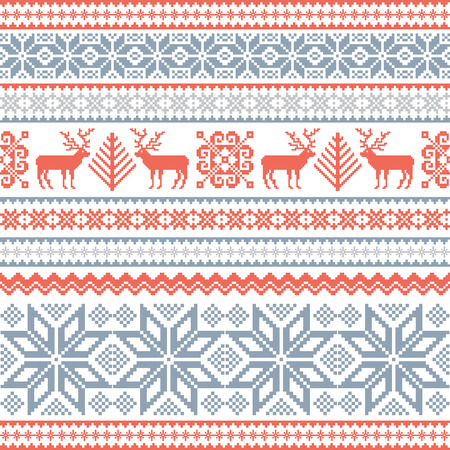 Christmas background with deer and traditional nordic ornament Illustration