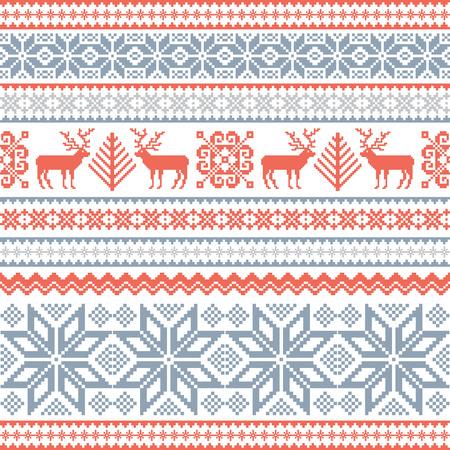 Weihnachten Hintergrund mit Hirsch und traditionellen nordischen Ornament