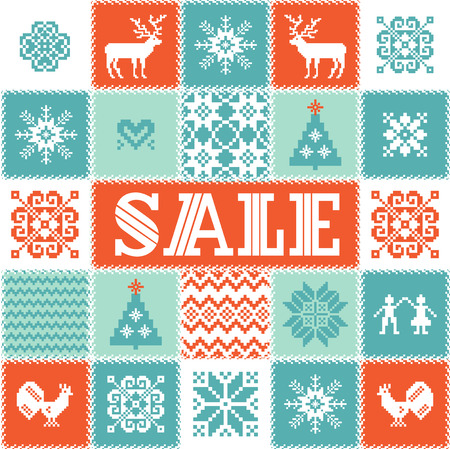 christmas motif: Cristmas sale background. Traditional Christmas and New Year motif: deer, tree, snowflake, star