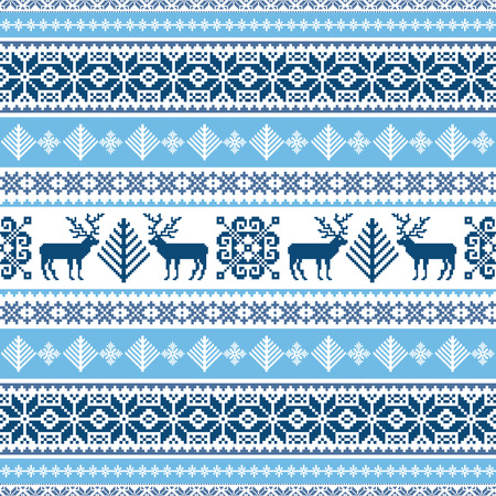 Traditional ornamental winter sweater seamless pattern in blue and white Illustration