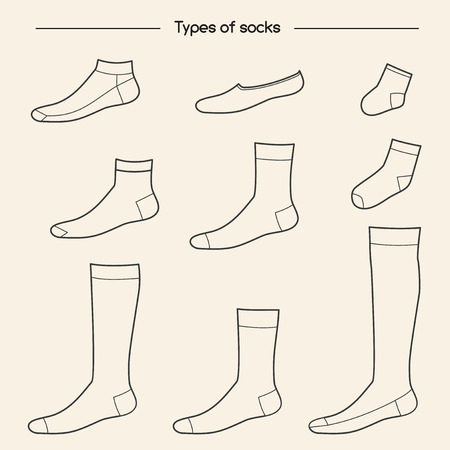 knee sock: Types of socks collection. No-show, low-cut, extra low-cut, quarter, mid-calf, over the calf, knee socks Illustration