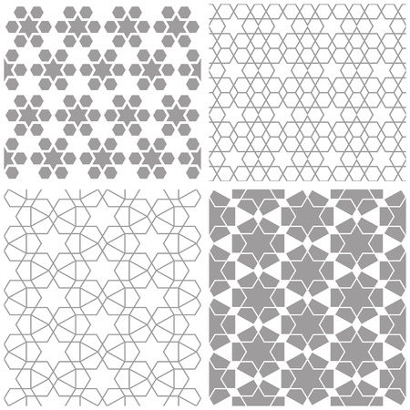 decorative patterns: Arabic abstract geometric patterns. Traditional decorative lattice with stars