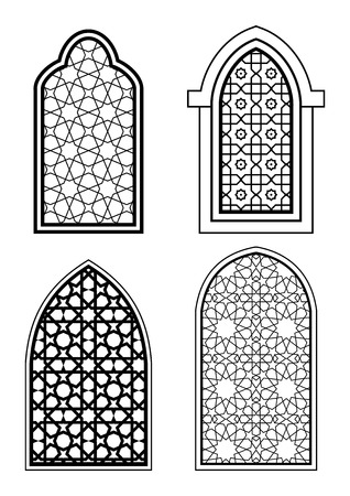 arch: Set of islamic arch in black and white. Arabic traditional architecture. Template for design