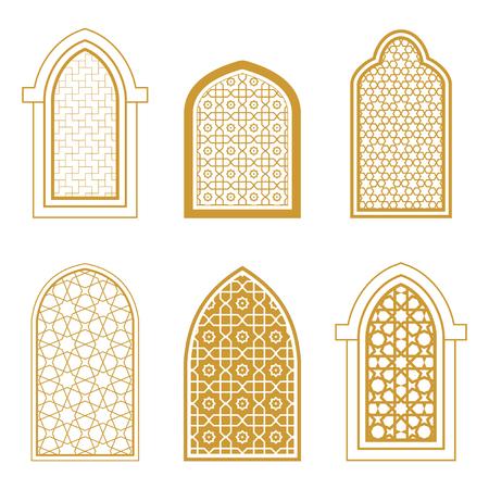 Set van sier-islamitisch venster. Arabische traditionele architectuur. Sjabloon voor ontwerp