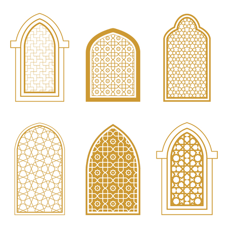 Set of ornamental islamic window. Arabic traditional architecture. Template for design