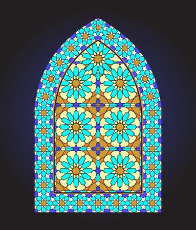 Ancient stained glass ornamental window Ilustração