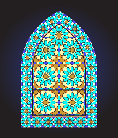 Ancient stained glass ornamental window Illustration