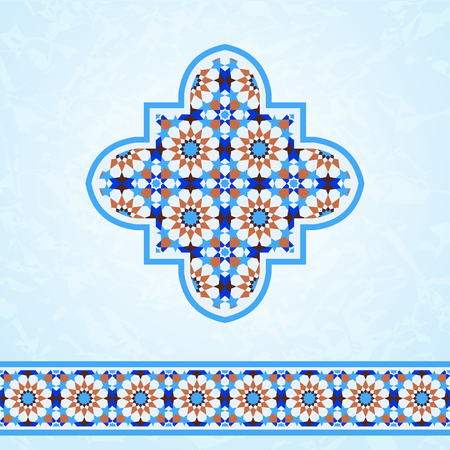 Traditional moroccan mosaic, design elements quatrefoil and ornamental border Illustration
