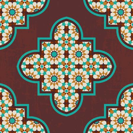 ビンテージ四葉モロッコ モザイク タイルのシームレス パターン  イラスト・ベクター素材