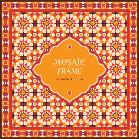 華やかなモザイクの背景、アラビア風のデザインのテンプレート