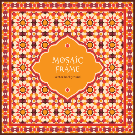Ornate mosaic background, template for design in arabic style Illustration