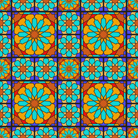harem: Arabic ornamental geometric seamless pattern. Stained glass or mosaic background Illustration