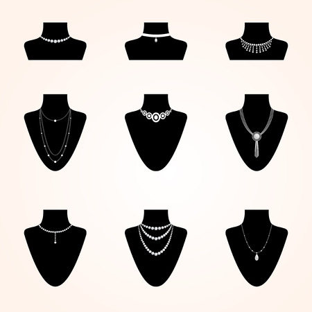 bijouterie: Collection of jewerly icons. Different types of bijouterie accessories