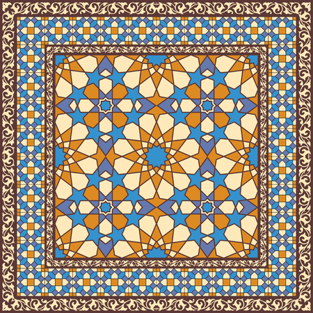 background kaleidoscope: Ornamental pattern in arabic style, traditional islamic ornament. Stained glass or mosaic background