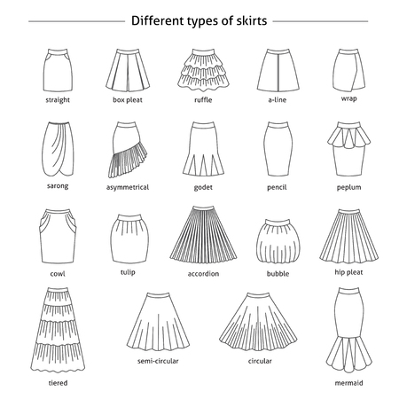 Set of different types of skirts. Thin line icons Çizim