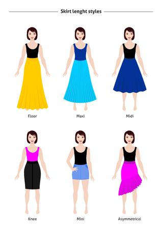 Skirt length styles guide, vector illustration Illustration